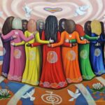 "'FEMME - Women Healing The World' Oil on canvas - 48"" x 60"" inches This painting is Inspired by the film documentary Femme: Women Healing the World the vision of Emmanuel Itier, produced by Celeste Yarnall and Nazim Artist. The image represents a symbolic evocation of the essence of the film with its message of holistic universal harmony between the genders, a co-creative partnership needed to heal the planet in all areas of human endeavour."